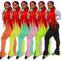 Летний неоновый цвет с карманами штабелированные спортивные штаны женщины Joggers 2020 высокая талия вспышки Ruched Stacked Leggings Bell брюки Pant1