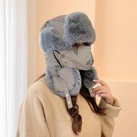 Kulak Kanatçıklan Olan Moda Kış Trapper Şapka Windproof Bisiklet Hood Şapka Kadife Kalın Sıcak Yüz Koruma Açık Kayak Cap LJJP773 Maske