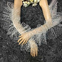 خمسة أصابع قفازات إمرأة أنيقة نقطة طباعة شبكة طويلة مع الكشكشة تقليم الشعير الدعائم زي التبعي أصابع مثير الرقص