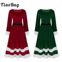 Tiaobug Kadınlar Yumuşak Kadife Uzun Kollu Kırmızı Yeşil Noel Kostüm Yetişkin Bayanlar Mrs Noel Baba Noel Fantezi Cosplay Parti Elbise Up1