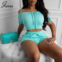 Joskaa 2 peças sets womens outfits verão ativo 2020 off ombro colheita superior e shorts tracksuit mulheres lounge desgaste conjunto de correspondência T200825