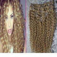 البرازيلي عذراء الشعر العسل شقراء غريب كليب الإضافية 100G 7PCS البرازيلي غريب مجعد كليب في الشعر التمديد الإنسان