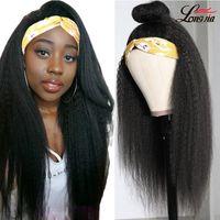흑인 여성을위한 머리띠가있는 브라질 킨키 스트레이트 헤드 밴드 가발 야키 인간의 머리 가발 Glueless 150 밀도 가발 머리띠 가발