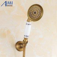 Amibronze antiguo brassporcelana baño ducha redondo cabezal lluvia ducha grifo pulverizador ducha cabezales ducha y200109