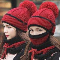 قبعة / جمجمة قبعات ريميوت أزياء الشتاء المرأة قبعة وشاح قناع الوجه ثلاثة قطعة مجموعة يندبروف مضاد للتجمد محبوك قفاطات دافئة 1
