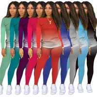 Mujeres Trajes de dos piezas con capucha Leggings Slim Trajes de gradiente Trajes de color Loungewear Casual Sportswear Trajes de jogging Yoga 2XL 3707