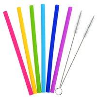 300 مجموعات 6silicone شرب القش + 2 فرشاة + 1 حقيبة شرب أدوات قابلة لإعادة الاستخدام صديقة للبيئة سيليكون سترو الملونة للملابس الداخلية