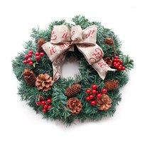 الزهور الزهور الزخرفية handmadered التوت عيد الميلاد اكليلا من الزهور مع القوس لقوس عطلة الباب الأمامي ديكور المنزل 16 inch1