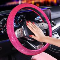 Cristal de luxe Violet Volant de voiture rouge Couvre Diamante strass voiture couverte accessoires de volant pour femmes