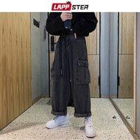 Leppster Hommes Black Baggy Jeans Big Pockets Kpop Hip Hop Harem Harem taille haute Vintage Vintage Denim Vintage Pantalon Plus Taille Y201123