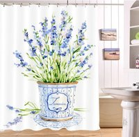 Watercolor White Shower Curtains Lavender Floral Waterproof ...
