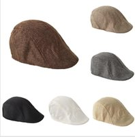 Los hombres de primavera y el otoño de la boina retro británico de lino boinas de la lengüeta del pato color sólido Adelante sombrero ocasional de moda LSK1464 favor sombrero del partido