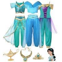 Film aladdin gioco di ruolo principessa costume per ragazza fantasia gelsomino top e pantaloni abbigliamento set bambino arabo indiano danza danza del ventre 201126