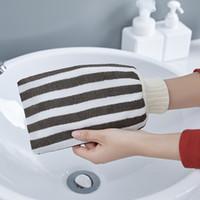 1PCS rayures verticales serviette de bain gommage et pour fil Viscose bain puissant homme femme serviette frotter le dos gants de bain