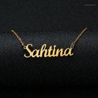 Золотой серебряный цвет персонализированные пользовательские названия кулон ожерелье индивидуальные ustrsive tirelate tource тарелка ожерелье женщины ручной работы день рождения1