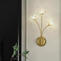 Salon or cristal mur lumineux lumineux lumineux chambre de l'hôtel LED miroir lumière projet 3 bras grand cristal de luxe lampe mur-vanité