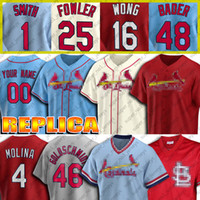 Personalizado 46 Paul Goldschmidt Jersey 4 Yadier Molina Jerseys 1 Ozzie Smith 25 Dexter Fowler 13 Matt Carpenter 22 Jack Flaherty Baseball Jersey