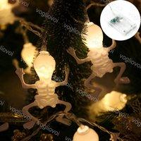 Luci di corda di Halloween 1,5m 2m 3m 6m 3 V Scheletro figura dell'uomo di figura di festa dell'uomo per la decorazione del partito della barra di casa DHL