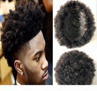 Piel fina completa Afro Toupee Top Venta Negro Cabello Negro Malasia Sin procesar Pelo humano Afro Kinky Curl PU Toupee Para Hombres Negros Envío Gratis