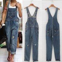 Mulheres menina lavada jeans bodysuit senhoras casuais jeans buraco macacão macacão macacão # 16 jumbsuits y200106
