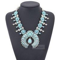 Mujer joyería étnica bohemia tribal turquesa flor colgante aleación collar grande colgante collar 6 colores collar