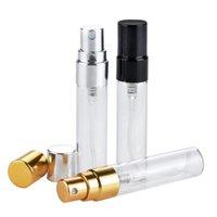 Yeni Doldurulabilir Cam Parfüm Şişesi UV Püskürtücü Ile Kozmetik Pompa Püskürtme Atomizer Gümüş Siyah Altın Kap 2ml 2.5ml 3 ml 5 ml