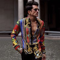 Camicia da uomo 2020 Uomo Uomo BAGGY Vintage Stampa vintage Pulsante a maniche lunghe Turn-Down Camicie maschili Abbigliamento Abbigliamento Abbigliamento Camicetta X1218