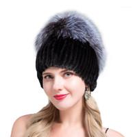 Шапочки / черепные шапки Jeryafur 2021 для подлинной норки женщины имеют модные шапочки женские натуральные зимние шапки вертикальные высокое качество1