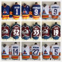 남자 콜로라도 Avalanche 19 Joe Sakic 21 Peter Forsberg 33 Patrick Roy 52 Adam Foote 27 John Wensink 9 Lanny McDonald Hockey Jerseys