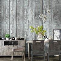 Обои Ретро-Ностальгические 3D Серый Античный Деревянный Зерно Обои Обои Промышленный Стиль Ресторан Гостиная Одежда Магазин одежды Nordic