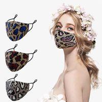 Ayarlanabilir döngü ile Moda Payet leopar desenli yüz maskeleri yaz çift katmanlı kumaş maske toz ve pus önleme