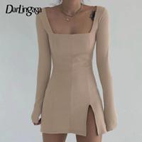 Vestidos casuais darlingaga elegante pescoço quadrado ribbed vestido preto feminino lateral feminino split bodycon manga comprida moda mini básico