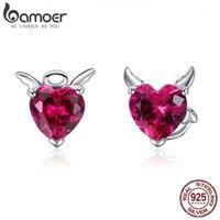 Stud Bamoer Moda 925 Sterling Silver Angel e Diabo Pink Cz Brincos Coração para Mulheres Jóias 2021 SCE4141