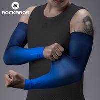 ROCKBROS verano protección sol ciclismo manga de brazos anti-uro sin fisuras seda de hielo correr deportes de manga de enfriamiento