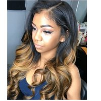 Ombre Lace Front Human Hair Wig Brazilian two tone highlight frontal full natural Wigs 1b 4 27 Pre-Plucked 150%density