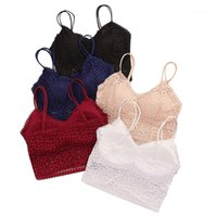 Camisoles Tanques Moda Mulheres Vermelhas Sexy Bra Colete Solid Lace Seamless Respirável Push Up Underwear1