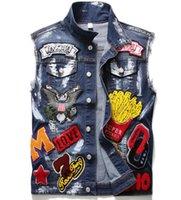 Tactical Vest espessamento Colete de alta qualidade New Designer Mens Denim Jacket bordados mangas Vestes Moda Casual Coats para baixo Homens