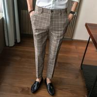 Самокольствование личности Дикий прямой костюм брюки корейский бизнес повседневная полосатая пледа мода мужские брюки