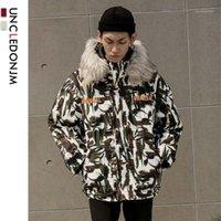 Down of Men's Down Parkas Ocledonjm Camouflage Manteau à capuchon rembourré Mode d'hiver Épais Chaud Parka Vestes Streetwear Hip Hip Hop Tops UN-W1221