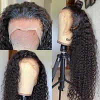 브라질 물 곱슬 13x4 레이스 프론트 인간의 머리 가발 26 28 30inch 깊은 파도 흑인 여성을위한 긴 정면 가발
