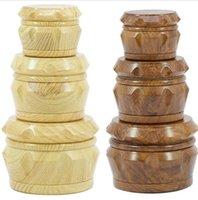 Neueste Holztrommel Grinder Holz Matel Herb Grinders 2 Typ 40mm / 50mm / 63mm 4 Schichten Tabak Grinder Cursher Grinder GGE1728