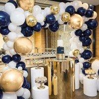 Metable 100 PCs 12/10 Zoll Navy Blue White Matte und Gold Confetti Gold Chrome Ballons Für die kleine Prinz Party, Navy Party T200624