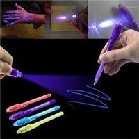 Magia 2 em 1 Graffiti UV Black Light Combo Creative Papelaria Invisível Caneta Marcador Pen Highlighter Escritório para crianças presentes1