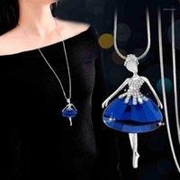 Anhänger Halsketten BySPS Romanic Tänzerin Halskette Silber Farbe Blau Grau Kristall Ballett Tanzen Mädchen Kragen Fairy Schmuck1