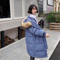 Encapuchada de la piel hacia abajo Espesar ocasional de las mujeres caliente de manga larga capas del algodón delgado femenino chaquetas nueva gran tamaño 2xl