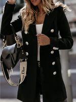Moda NUEVAS Abrigos para mujer Use un traje de manga larga con cuello de doble pecho Outerwear Outdoor Trench Invierno Snow Abrigos Tamaño M-2XL