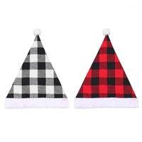 Weihnachtsmütze Santa Claus Kostüm Unisex Weihnachten Plaid Cap für Home Party Dekoration Frohes Neues Jahr Geschenk1