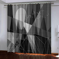 grey geometric 3D Window Curtain Dinosaur print Luxury Black...