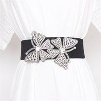 Женщины эластичный широкий ремень Новые 2020 бриллиантов бисером бабочки модные ремни черный корсет Cinturon Mujer T200427