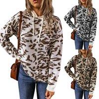 2020 Leopard-Druck-Sweater mit Kapuze und Winter neue Strickjacke-Frauen der europäischen und amerikanischen Stil Kordelzug Kapuze